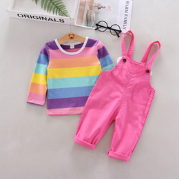 $enCountryForm.capitalKeyWord Australia - New Autumn Baby Girls Clothing Set Long Sleeve Rainbow Striped Print Blouse Tops Strap Pants Wings Design Casual Outfits Set