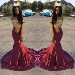 Robe soiRee meRmaid online shopping - Robe de Soiree Silk Satin Gold Lace Charming Burgundy Off the Shoulder Trumpet Prom Dress Custom African Formal Party Evening Gowns