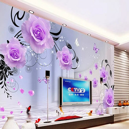 purple wallpaper wholesale UK - Custom large mural 3D wallpaper Modern Modern creative 3D expansion space purple rose TV back wall decor deep 5D embossed