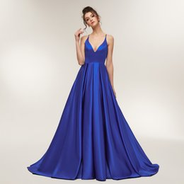 276596818be Royal Blue Sexy Prom Girl Satin Spaghetti Strap Party Dresses Long Open  Back Evening Dress Robe De Soiree Q190428