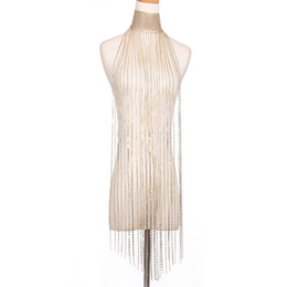 $enCountryForm.capitalKeyWord Australia - high quality fashion sexy super glittering full rhinestone long tassel dress body chain jewelry for night clubs parties gold silver