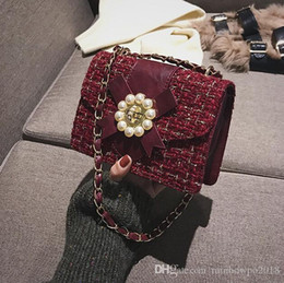 $enCountryForm.capitalKeyWord Australia - Wholesale brand women handbag winter new plaid wool women shoulder bag sweet cute diamond chain bag INS super fire pearl womens hand bag