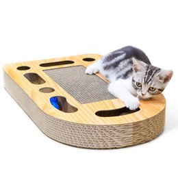Wholesale New Hot Thicken Material Corrugated Paper Cat Scratch Board Pad Soft Bed Mat Care Toys Scratcher Cat Training Toy