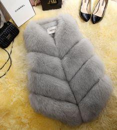 2fb654f3d8007 Faux Fox Hair Fur Vest Bear Ladies  Waistcoat Jackets Women  Medium-long-style Thin Trim Red Fur Coat Plus Size Fluffy Overcoat