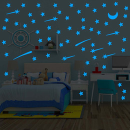$enCountryForm.capitalKeyWord Canada - Meteor shower Wall Stickers Luminous stars home decal fluorescent Moon glow in the dark stars on the ceiling glass bedroom deco C3