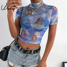 0355cf770ce Weekeep Sexy Transparent Bodycon t shirt Women Angel Print Short Sleeve  tshirt Summer Streetwear Cropped tee shirt femme