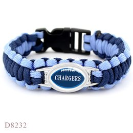 $enCountryForm.capitalKeyWord NZ - 2019 New America Glass Cabochon Chargers Football Team Outdoor Survival Paracord Bracelets Navy Blue Umbrella Rope Leather Women Men Jewelry