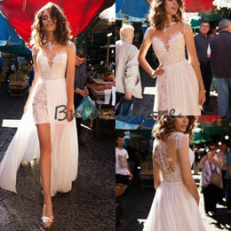 front cover backless wedding dress 2019 - Lussano 2019 boho wedding dresses Sheer Neck Tassels Cap Sleeves Short Bridal Gowns With Detachable Train High Low Split