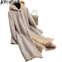 real furs coats NZ - AYUNSUE Sheep Shearing Wool Coat Hooded Real Fur Coat Long Winter Fur Jacket Women Natural Lamb Liner Plus Size 6XL OT1876