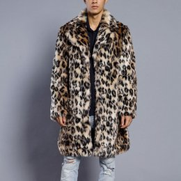 $enCountryForm.capitalKeyWord Australia - Mens Leopard Plus Thickening Long Coat Warm Thick Fur Collar Coat Jacket Faux Fur Parka Cardigan male fashion gentleman Style