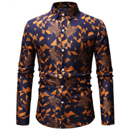 Wholesale hawaiian sleeve shirts resale online – men s palm and palm print shirts Hawaiian men s long sleeve shirts long sleeve European size Chemise Homme XL