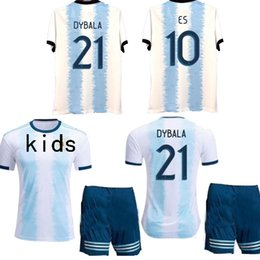 Wholesale New Argentina Kids home blue white HIGUAIN KUN AGUERO DYBALA soccer jersey camiseta futbol maillot de foot football shirt kit