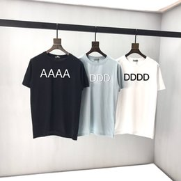 Wholesale Early spring 2020 new color block letter Short Sleeve Tee double strand fine cotton fabric black and white n1