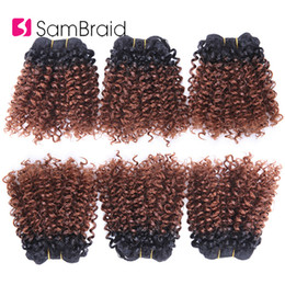 kinky curly hair weave styles Australia - 3 Bundles Bohemian Style Short Afro Kinky Curly Hair Wefts 8 Inches Ombre Blended Hair Weaves Synthetic Extensions