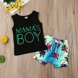 stock clothes winter UK - Pudcoco US Stock Baby Boy 0-24M Clothing Outfits Set Print Letter Fashion Sleeveless T-Shirt Top +Print Beach Shorts Clothes Set