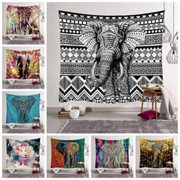 Bohemian tapestries online shopping - 12 Styles Bohemian Mandala Tapestry Beach Towel Elephant Printed Yoga Mats Polyester Bath Towel Home Decoration Outdoor Pads CCA11528