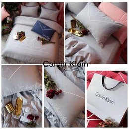 $enCountryForm.capitalKeyWord Australia - 60S 5 Color Embroidery Bedding Boutique Cotton Pure Color Simple Bed Sheet Suit Four Seasons New Popular Logo Bedding Cover