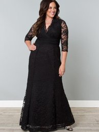 $enCountryForm.capitalKeyWord Australia - Black Full Lace Plus Size Formal Dresses V-Neck 3 4 Sleeve Mermaid Evening Gowns Floor Length Mother Of The Bride