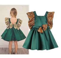 Wholesale Sequin Clothes Australia - Baby girls Sequin Ruffle sleeve dress children Backless Sequin bow princess dresses summer Fashion boutique Kids Clothing 2 colors B11