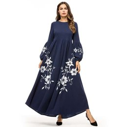 $enCountryForm.capitalKeyWord Australia - Elegant Vintage Floral Embroidery Women Long Dress High Waist Swing A Line Dresses Maxi Bishop Sleeve Autumn Fall