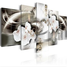 Gold Framed Paintings Australia - ( No Frame)5PCS Set Modern Abstract Orchid Gold Ripple Flower Art Print Frameless Canvas Painting Wall Picture Home Decoration