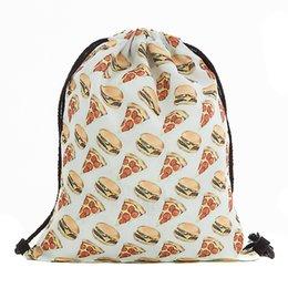 pizza gifts 2019 - 39x30cm Harajuku Cute Cloth Drawstring Bags Canvas Kawaii Pizza Storage Bags Backpack 3d Printed Womens Gift Bag cheap p
