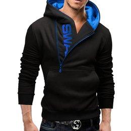 Wholesale Mens Zipper Hoodies Australia - Hoodies Men 2017 Brand Male Long Sleeve Hoodie Side Zipper Letter Sweatshirt Mens Moletom Masculino Hoodies Slim Tracksuit 6XL