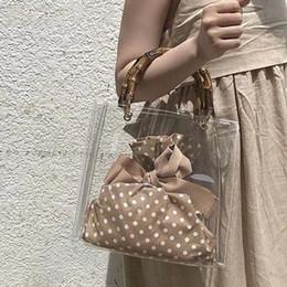 cfbce6a10 Mango de bambú retro bolsa transparente mujeres jalea transparente bolsos  de señora Pvc bolsa de jalea clara bolsa de mano elegante embrague Feminina  2019