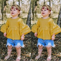 Sweet Girl Clothing Wholesale Australia - Ins Girls Outfits Summer sweet Girl Suit toddler girl clothes trumpet sleeve Blouse+hole Jeans Shorts Infant Outfits baby girl clothes A5231