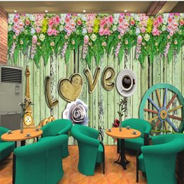 flowers studios background Australia - Drop Shipping Photo Wallpaper Romantic Flower Colored Wood Background Wallpaper Living Room Restaurant Bedroom Studio HD Mural