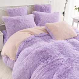 Kış için Süper Sıcak Yatak Seti Peluş Kadife Yatak Seti 3/4 adet kuzu Kaşmir Kraliçe Kral Nevresim Yatak Örtüsü Yastık indirimde