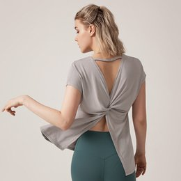 Knot Shirts Australia - Sexy Backless Tie Knot Fitness Workout Tops for Women Short Sleeve Sports Wear for Women Gym Yoga Top Sport T Shirt Tshirt