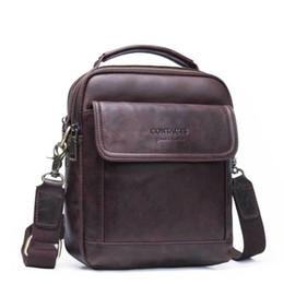 Cross Bags Australia - Top Quality Genuine Leather Men Business Shoulder Bag Famous Brand Cross Body Messenger Bags Cowhide Handbag Tote Flap