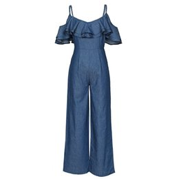 1ac5f573ff Fashion Casual Denim Jumpsuit Women Summer 2019 Strap Wide Leg Jumpsuits  Backless Ruffles Lace Up Girl Street Chic Sexy Overalls