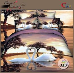 chinese beds 2019 - Wholesale-cotton luxury queen king size 3d bed set bedding set bedclothes Animal Lion tiger leopard duvet cover bedsprea