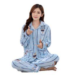 64464dc52df winter women Pajamas plus size M-4XL 5XL 6XL Pregnant Flannel cartoon thick coral  fleece men sleepwear women Pajama Sets