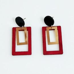 Exaggerated tide stitching pattern geometric square wood earrings fashion wood ear jewelry