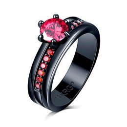 women black wedding ring NZ - Vintage Red zircon CZ 18KRGP stamp black gold filled diamond wedding ring rhinestone ruby Ring for Women ladys wife gift fine jewelry