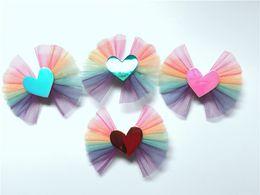 $enCountryForm.capitalKeyWord Australia - Boutique ins 20pcs Fashion Cute Glossy Laser Love Heart Bowknot Hairpins Gradient Rainbow Bow Hair Clips Princess Hair Accessories