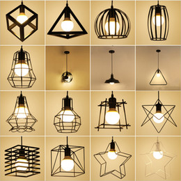 industrial cage pendant lights 2019 - Nordic LED Pendant Lights Retro Industrial Style Coffee Restaurant Personality Bar Iron Cage Art Hanging Line Lamp cheap