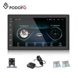 """Podofo Android 8.1 Car DVD Player 2 Din 2.5D vidro 7"""" Camera Radio Touch Screen Car Autoradio GPS Navigation Wifi Espelho Link Bluetooth Rear em Promoção"""