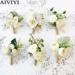$enCountryForm.capitalKeyWord Australia - Artificial Rose Flower Groom Boutonniere Man Corsage Father Brother Wedding Flowers Man Suit Party Decoration