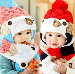 Little Hats Australia - New Little Bear Baby Winter Knitted Beanie Hat And Scarf Set Toddler Kids Warm Balaclava Cap Outdoor Skiing Sports Scarf Sets