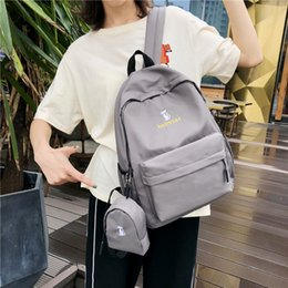 school bags woman NZ - Amazing2019 Kitty Embroidery Chic A Bag Woman High School Ins Wind Student Campus Both Shoulders Package Small Fresh Girl Backpack