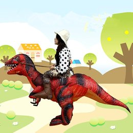 Dinosaur Suit Adults Australia - Adult Ride on Trex Dinosaur inflatable Costume Jurassic World T-Rex Fancy Dress Halloween suit Red Party mascot Costume