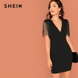 49c3834853 Shein Black Going Out Weekend Casual Tassel Detail Solid Dress V Neck 2018 Summer  Sleeveless Slim Elegant Dress Women Dresses T190411