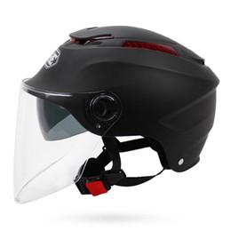 Yohe Half Helmets Australia - Free Shipping YOHE motorcycle Helmet Half Face motorbike motorcycle helmet electric bicycle helmets with dual lens YH-365 5 colors