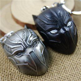 wholesale bronze fairies Australia - 17 styles Avengers Captain America 3 Panther Mask Keychain Antique Tin and black gun bronze Keyring pendant Jewelry Accessories newv001