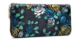 Rose Zipper Flowers UK - Rose Long Woman Wallet Fashion Flowers Ladies PU Leather Wallet Casual Vintage Woman Long Nice Wallet