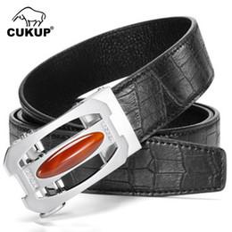 UniqUe belts for men online shopping - CUKUP Unique Design Men s Jade Decorative Ratchet Buckle Metal Belts Cow Genuine Leather Belt for Men Jeans Accessories ZDCK180